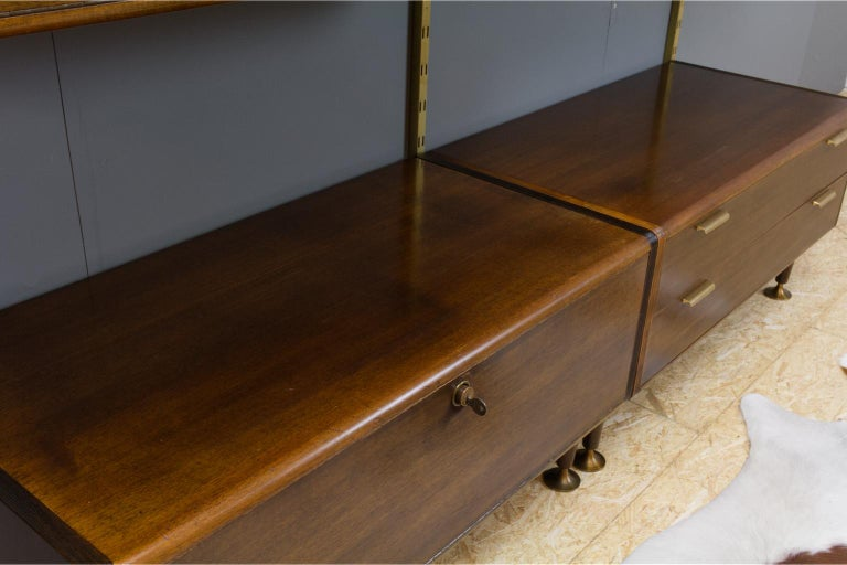 Midcentury Ash and Brass Modular Wall Unit by A.Patijn for Fristho, Dutch 1950s For Sale 8