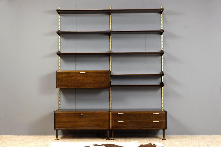 Mid-Century Modern Midcentury Ash and Brass Modular Wall Unit by A.Patijn for Fristho, Dutch 1950s For Sale