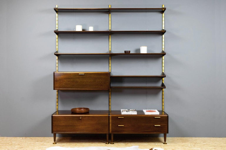 Midcentury Ash and Brass Modular Wall Unit by A.Patijn for Fristho, Dutch 1950s In Good Condition For Sale In Beek en Donk, NL