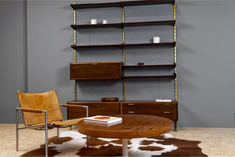 Mid-20th Century Midcentury Ash and Brass Modular Wall Unit by A.Patijn for Fristho, Dutch 1950s For Sale