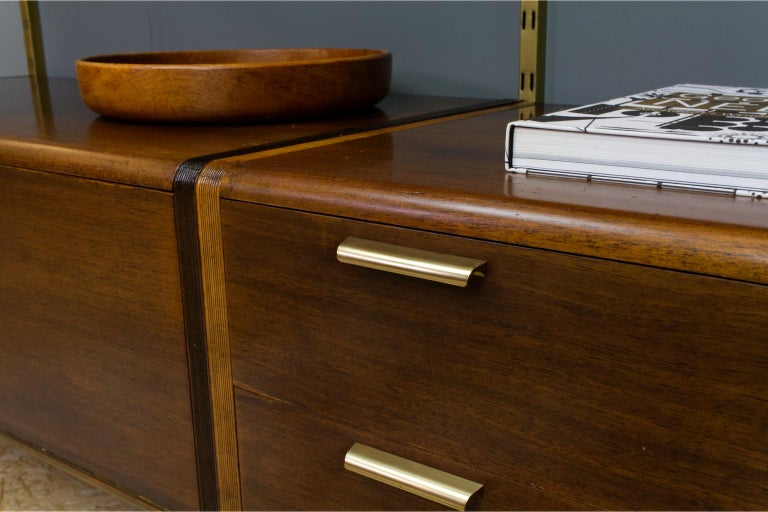 Midcentury Ash and Brass Modular Wall Unit by A.Patijn for Fristho, Dutch 1950s For Sale 1