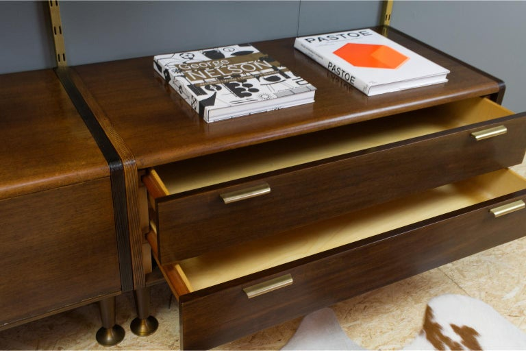 Midcentury Ash and Brass Modular Wall Unit by A.Patijn for Fristho, Dutch 1950s For Sale 2