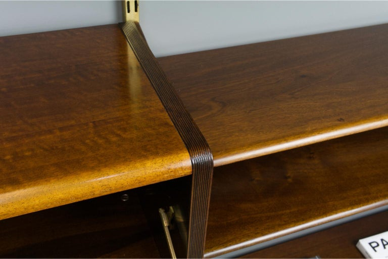 Midcentury Ash and Brass Modular Wall Unit by A.Patijn for Fristho, Dutch 1950s For Sale 4