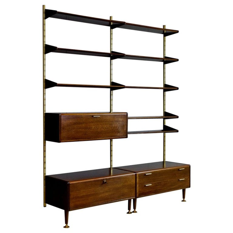 Midcentury Ash and Brass Modular Wall Unit by A.Patijn for Fristho, Dutch 1950s For Sale