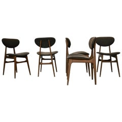 Midcentury Ash Dining Chairs with Mocha Wool Upholstery, Italy, 1960s, Set of 5