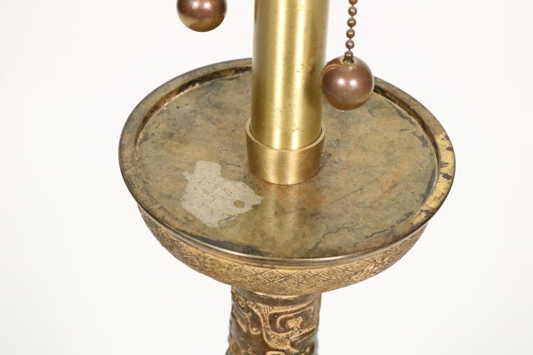 Midcentury Asian Motif Antiqued Brass Table Lamp by Marbro For Sale 4