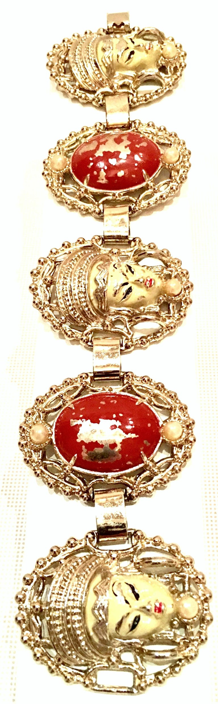 Women's or Men's Vintage Selro Asian Princess Gold, Cinnabar & Faux Ivory Bracelet & Earrings S/3 For Sale