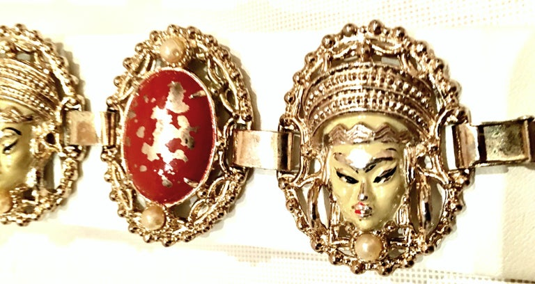 Vintage Selro Asian Princess Gold, Cinnabar & Faux Ivory Bracelet & Earrings S/3 For Sale 1
