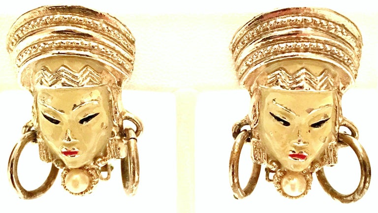 Vintage Selro Asian Princess Gold, Cinnabar & Faux Ivory Bracelet & Earrings S/3 For Sale 4
