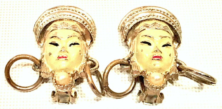 Vintage Selro Asian Princess Gold, Cinnabar & Faux Ivory Bracelet & Earrings S/3 For Sale 5