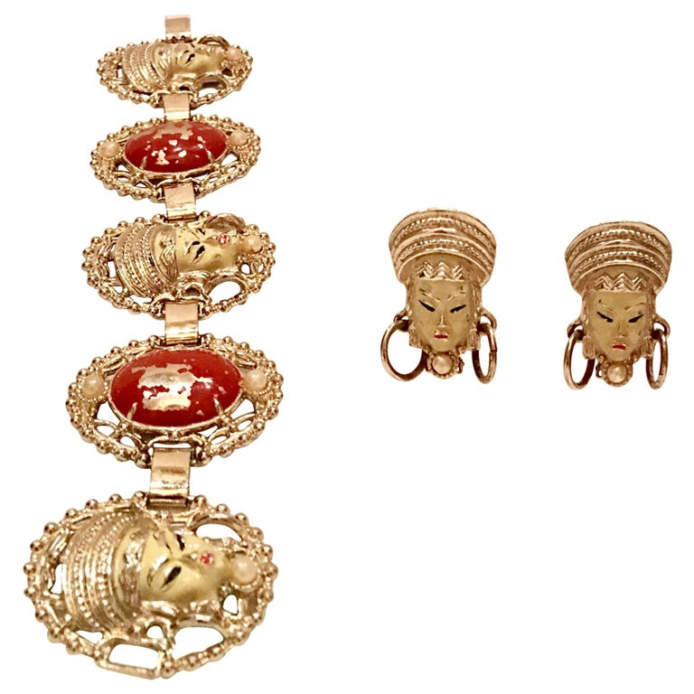 "Mid-Century ""Asian Princess"" Gold, Cinnabar & Faux Ivory Bracelet & Earrings S/3 For Sale"