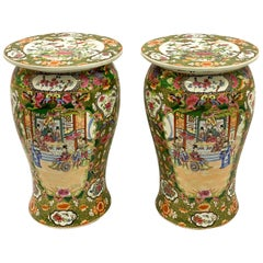 Midcentury Asian Rose Medallion Ceramic Garden Seats, a Pair
