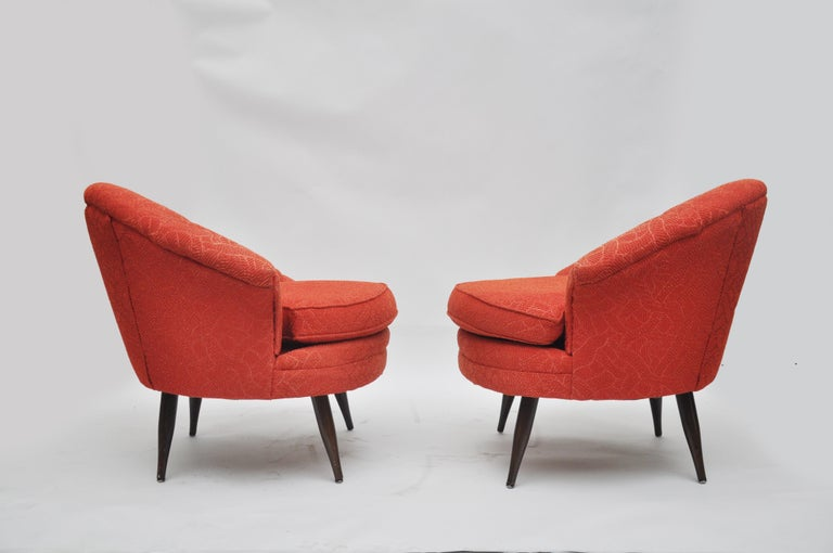 American Midcentury Asymmetrical Club Chairs For Sale