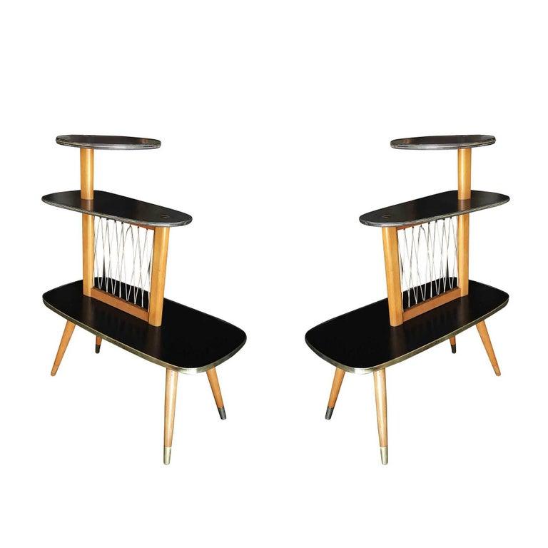 Mid-Century Avant Garde Three-Tier Side Tables, Pair