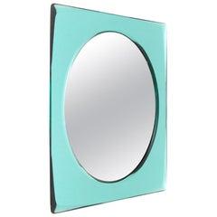 Midcentury Azure Mirrored Frame Italian Mirror, 1970s