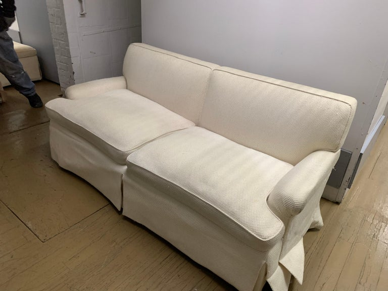 Mid-Century Baker Upholstered Two-Seat Sofa In Distressed Condition For Sale In Chicago, IL