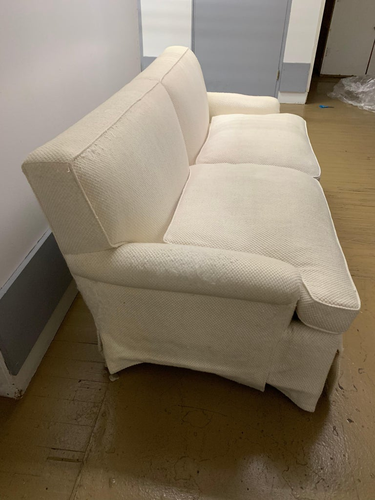 Cotton Mid-Century Baker Upholstered Two-Seat Sofa For Sale
