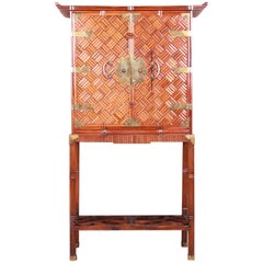 Mid-Century Bamboo and Brass Hollywood Regency Chinoiserie Bar Cabinet