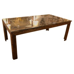 Mid Century Bamboo and Glass Dining Table