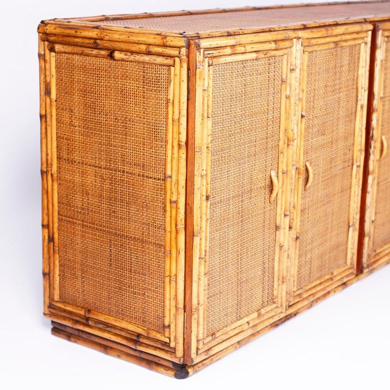 20th Century Midcentury Bamboo and Grasscloth Sideboard or Credenza For Sale