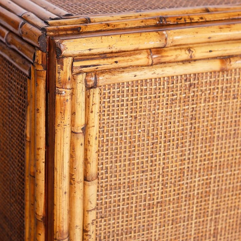 Midcentury Bamboo and Grasscloth Sideboard or Credenza For Sale 1