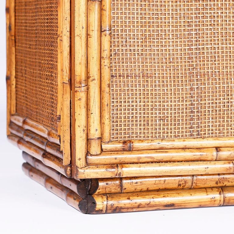 Midcentury Bamboo and Grasscloth Sideboard or Credenza For Sale 2
