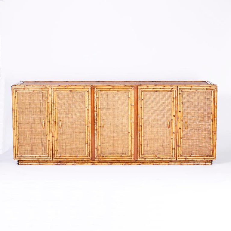 Midcentury Bamboo and Grasscloth Sideboard or Credenza For Sale 3