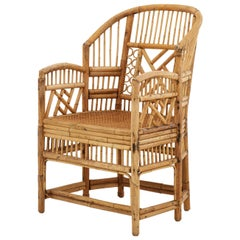 Midcentury Bamboo and Rattan Armchair with Cane Seat