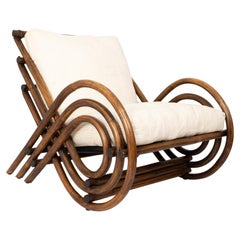 Mid-Century Bamboo and Rattan Lounge Armchair Italy, C.1960