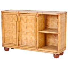 Midcentury Bamboo and Wicker Cabinet or Server