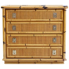 Mid Century Bamboo and Wicker Chest of Drawers by Dal Vera, Italy