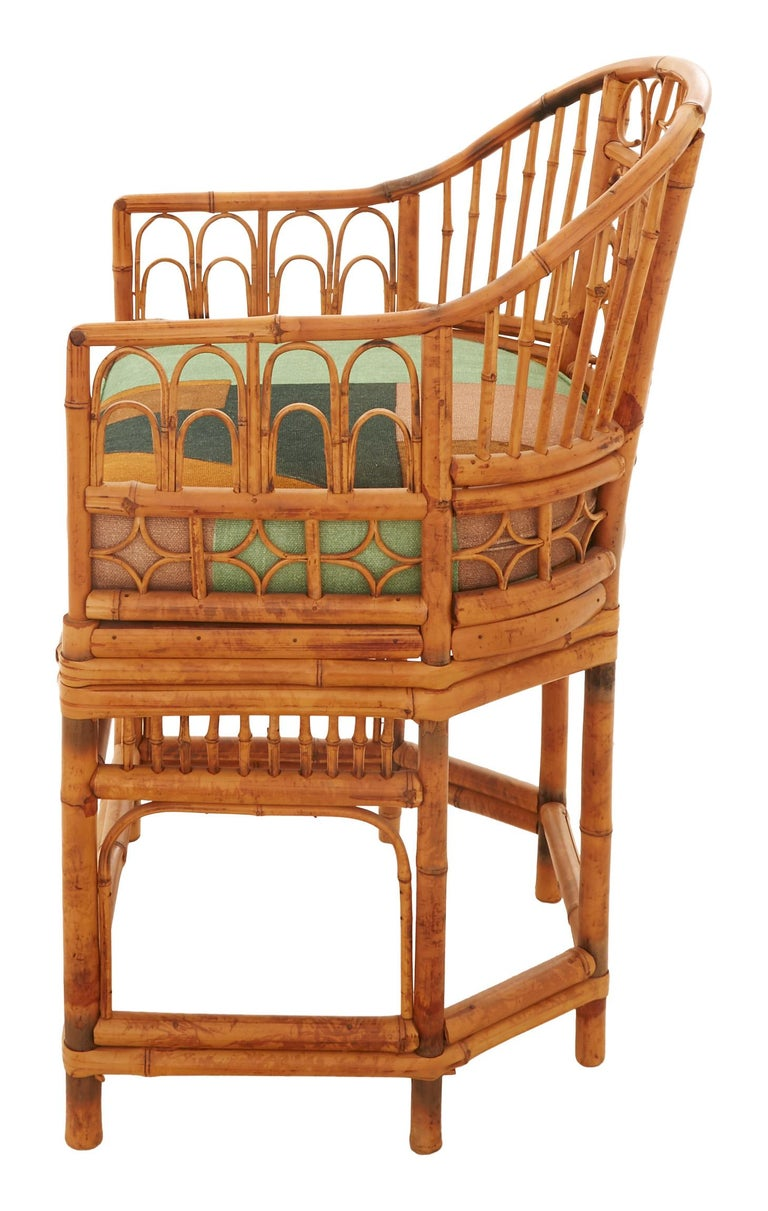 American Midcentury Bamboo and Cane Armchair For Sale