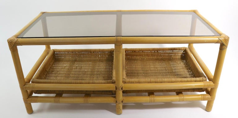 Mid-Century Modern Mid  Century Bamboo Coffee Table Attributed to Ficks Reed