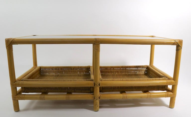 American Mid  Century Bamboo Coffee Table Attributed to Ficks Reed