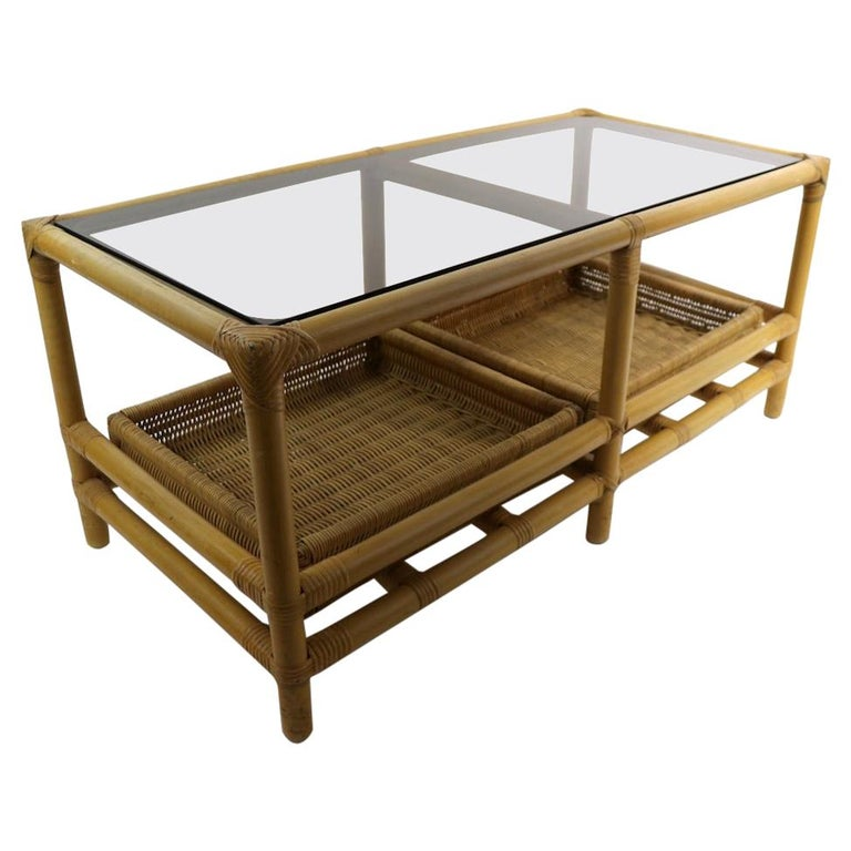 Mid  Century Bamboo Coffee Table Attributed to Ficks Reed