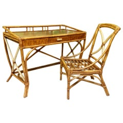 Midcentury Bamboo Desk and Chair