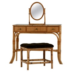 Midcentury Bamboo Dressing Table and Mirror, Stool Italian