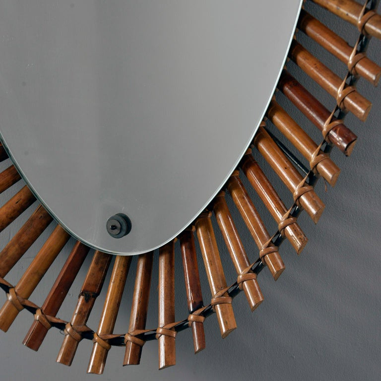 Unknown Midcentury Bamboo Framed Oval Mirror For Sale