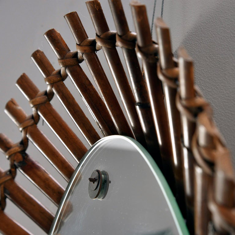 Midcentury Bamboo Framed Oval Mirror In Good Condition For Sale In Troy, MI