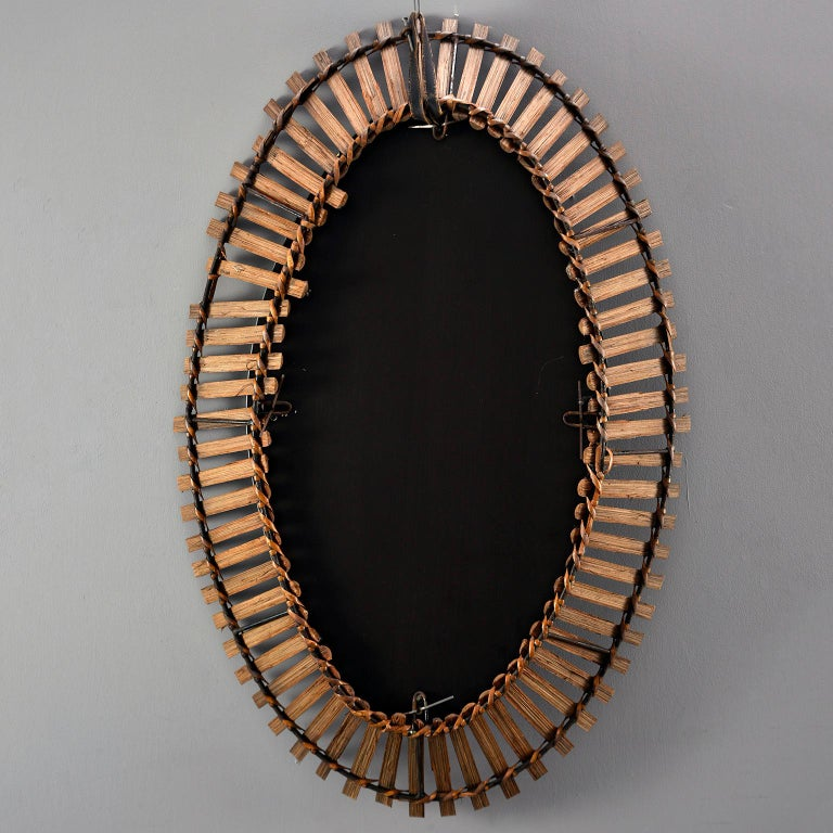 Midcentury Bamboo Framed Oval Mirror For Sale 2