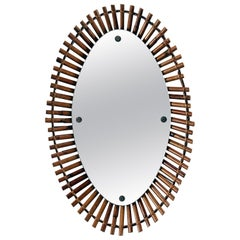 Midcentury Bamboo Framed Oval Mirror