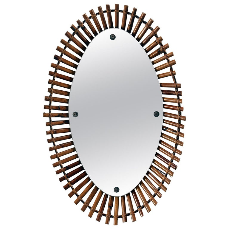 Midcentury Bamboo Framed Oval Mirror For Sale