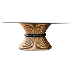 Midcentury Bamboo Long Oval Pedestal Dining Table and Glass Top by McGuire