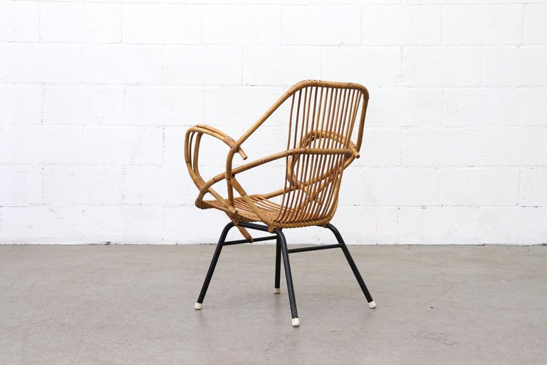 Dutch Midcentury Bamboo Lounge Chair For Sale