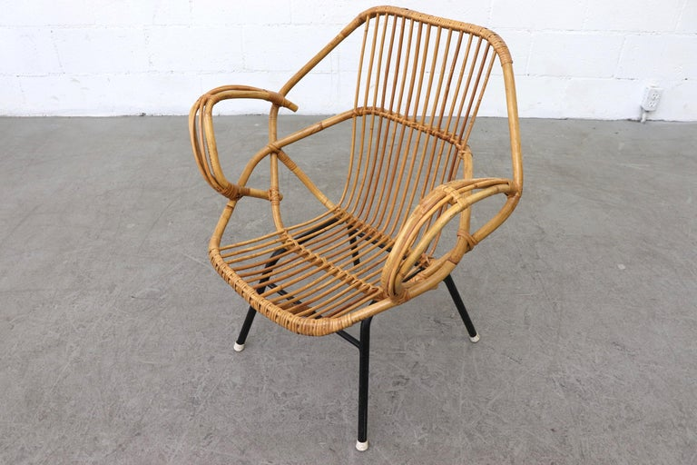 Enameled Midcentury Bamboo Lounge Chair For Sale