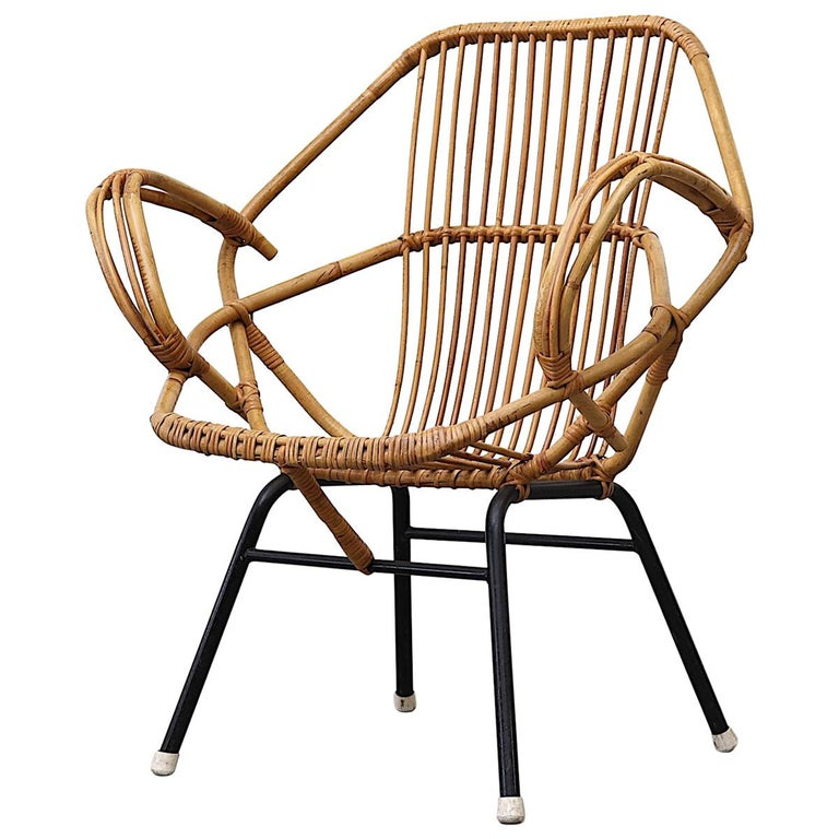 Midcentury Bamboo Lounge Chair For Sale