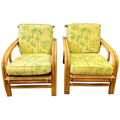 Midcentury Bamboo Rattan Lounge Club Chairs