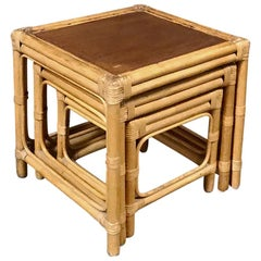 Midcentury Bamboo and Rattan Nesting Tables