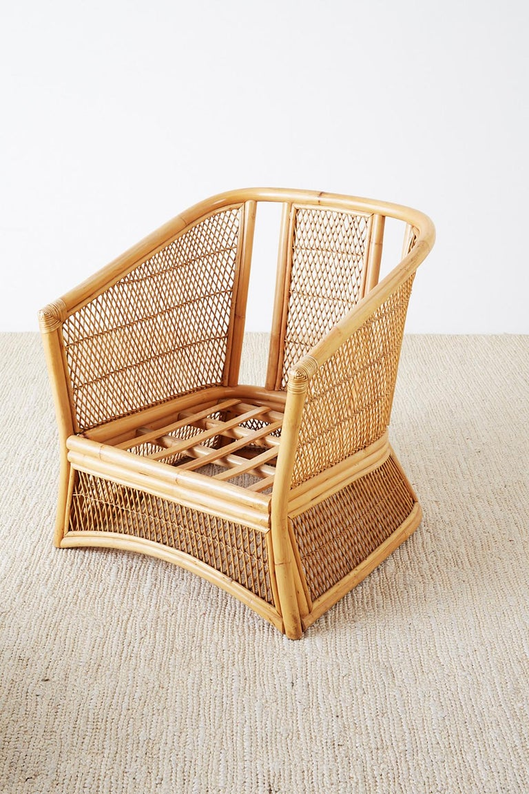 Midcentury Bamboo Rattan Wicker Lounge Chair At 1stdibs