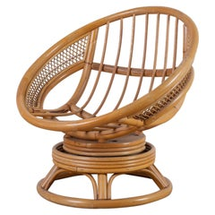 Midcentury Bamboo Rattan Wicker Round Swivel Lounge Chair
